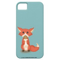 Cute Little Big Eyed Fox With Cookie iPhone 5 Case from Zazzle.com