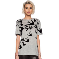 Grey Bird Print T-Shirt