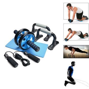 3-In-1 AB Wheel Roller Kit AB Roller with Jump Rope and Knee Pad Abdominal Core Carver Fitness Workout for Abs