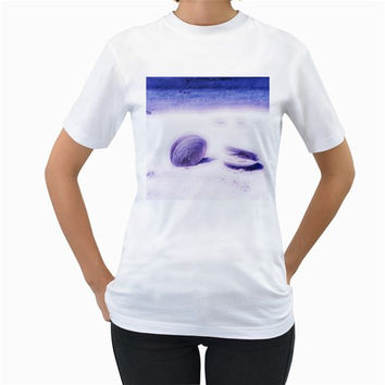 Dreamy Seashells Blue Pastels Women's T-Shirt (White)