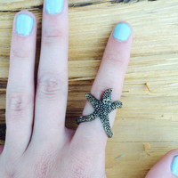 Antique Bronze Starfish Ring, Adjustable Star Ring, Mermaid Ring, FREE SHIPPING
