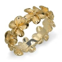 Plumeria Eternity Ring with14K Yellow Gold Finish - 8mm