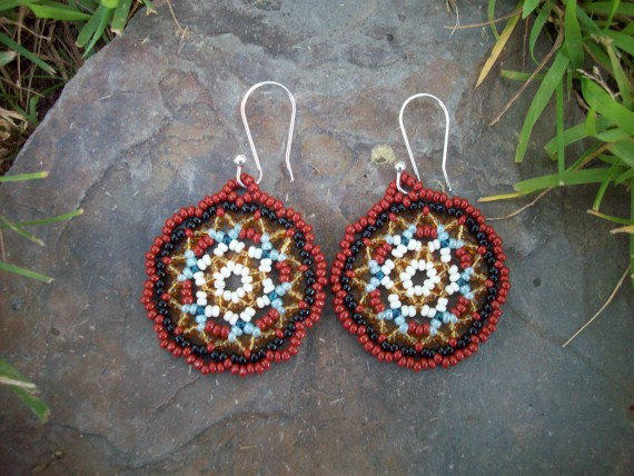 Beaded Hoop Earrings Redish Brown From