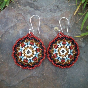 Beaded Hoop Earrings, Redish Brown, Black, Bone, Translucent Gold, Light Blue, Dangle, Huichol Lace, Native American Inspired, Circles