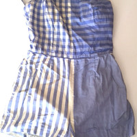 1940s Vintage Peck & Peck Swimsuit One Piece Bathing Suit Blue Gingham Check Stripe Theater Costume Size S M