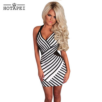 DearLove New Black and White Mesh Halterneck Mini Dress Sexy Ladies Backless Banadage Night Clubwear vestidos para festa LC22466