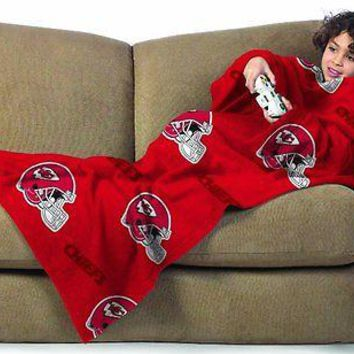 Kansas City Chiefs Youth Kids COMFY THROW Blanket w/ Sleeves NEW