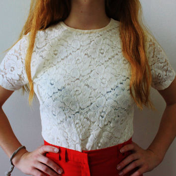vintage White Lace Bodysuit by vicethighvintage on Etsy