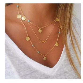NK834 Fashion New Multiple Layers Bead Wafer Sequins 8 Tassel Clavicle Necklace Collares Bijoux For Women Jewelry Chain Choker