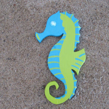 Blue and Lime Green Seahorse w/ Glass Bead Handpainted Beach Decor Ocean Nautical Coastal Wood Decor Wall Art Nursery Bathroom Decor Sea.