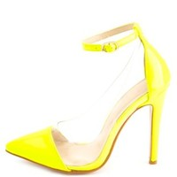 Ankle Strap Lucite Pointed Cap-Toe Pumps - Neon Yellow