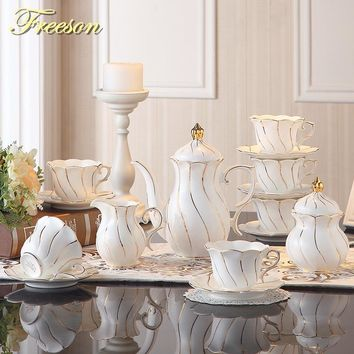 Europe Gold Wave Bone China Coffee Set British Porcelain Tea Set Ceramic Pot Creamer Sugar Bowl Party Teapot Coffee Cup Tea Mug