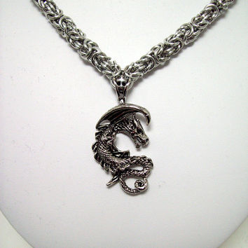 Dragon, mens necklace, Sword, necklace, Dungeons and Dragons, Skyrim, Game of Thrones