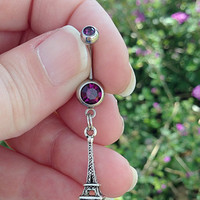 Belly buttin ring with Paris Eiffel Tower charm