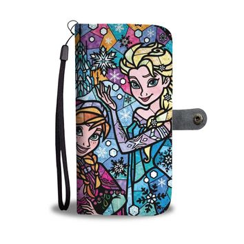 Disney Princess Elsa And Anna Stained Glass Wallet Phone Case