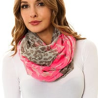 Accessories Boutique Infinity Scarf Animal Print in Hot Pink and Grey