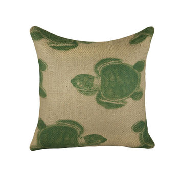 Turtle Burlap Pillow Cover, Nautical Cushion, Beach Pillow Cover, Navy and Beige, 16""