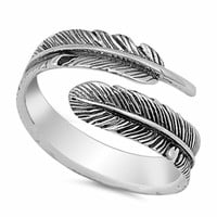 .925 Sterling Silver Feather Wrap Ladies Fashion Ring Size 4-10