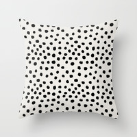 Preppy brushstroke free polka dots black and white spots dots dalmation animal spots design minimal Throw Pillow by CharlotteWinter