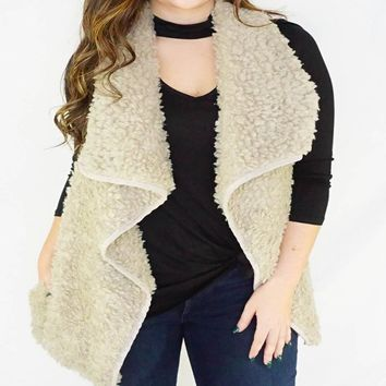 Tan Open Front Shearling Vest