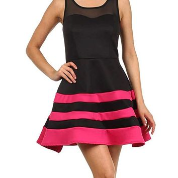 Striped Mesh Detail A-Line Skater Dress Womens Made in U.S.A -Large
