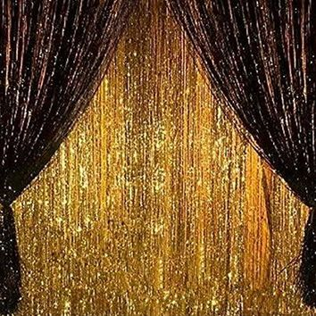 2PCS 3' X 8' Gold and Black Metallic Tinsel Foil Fringe Curtain Party Decoration