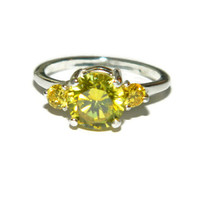 Yellow Diamond Ring, Three Stone Ring, Cocktail Ring, Man Made Stone, Anniversary Ring