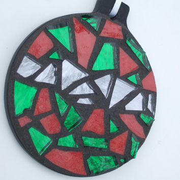 Mosaic Christmas Ornament, Round, Green + Red + Silver, Handmade Stained Glass Mosaic Design