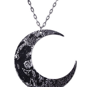 Large Textured Midnight Moon Necklace