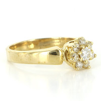 Vintage 14 Karat Yellow Gold Diamond Flower Cocktail Ring Fine Estate Jewelry