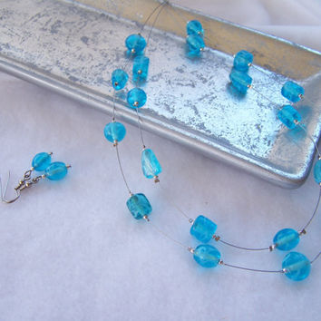 2-Strand Aqua Blue Floating Beaded Necklace with Matching Beaded Dangle Earrings - Handmade Jewelry - OOAK