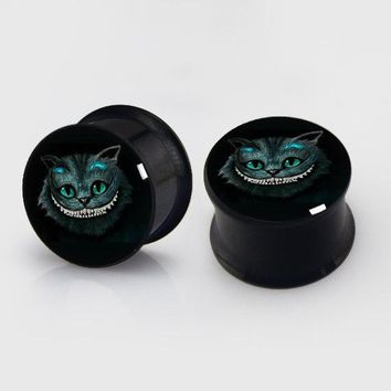 2 pieces cheschire cat anodized black ear plug gauges steel flesh tunnel body piercing jewelry 1 pair