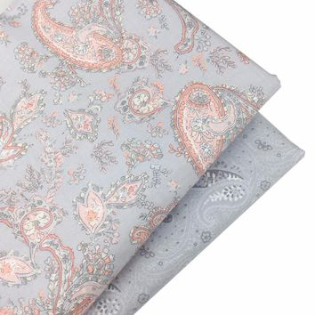 Grey Floral Print 100% Cotton Fabric For Diy Tissus Telas Sewing Patchwork Baby Home Textile Tilda Quilting Doll Cloth Material