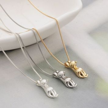 Cute Cat Drawing Pendant Necklace Hypoallergenic
