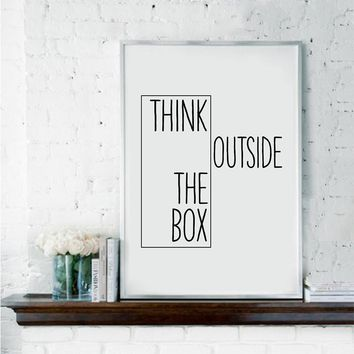 Motivational Print Creative Decor - Think Outside The Box - Home Office Minimal Wall Art Canvas Painting Ideas For Classroom