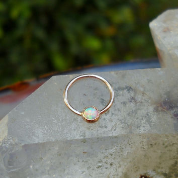 White Opal Septum Ring/Nose ring 14K Solid Rose Gold Handcrafted