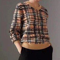 BURBERRY Autumn Winter Fashion Women Casual Classic Plaid Graffiti Knit Sweater Top Sweatshirt