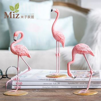 Miz Home 1 Piece Resin Pink Flamingo Home Decor Figure for Girl Ins Hot Home Decor Gifts for Girl