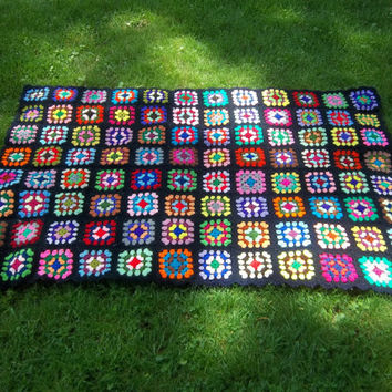 Vintage Afghan Hand Crocheted Blanket Bright Bold Colors