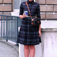 Shirt dress Elegant dress Blue dress Work dress Fit and flare Womens dresses Ladies dress Cotton dress Tartan dress Handmade dress