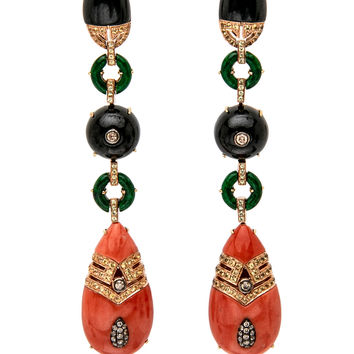 Jade and Coral Drop Earrings