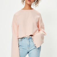 Missguided - Pink Ring Detail Flared Sleeve Sweatshirt