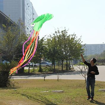 Large Green Octopus Kite for Children Single Line Stunt Software Power Kite Easy To Fly Kids Outdoor Fun Toys