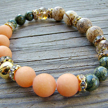 Gemstone Stretch Bracelet, Green, Beaded Bracelet, Bohemian Style, Orange, Elastic Beaded Bracelets, Gold, Bead Jewelry, Gemstone, Stacking