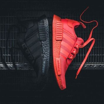 Sale Adidas NMD R1 Solar Red And Triple Core Black Boost Sport Running Shoes Classic Casual Shoes Sneakers