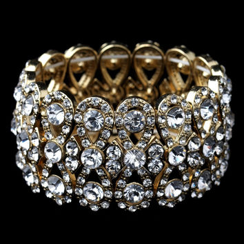 Gold Clear Rhinestone Wise Bow Tie Stretch Bracelet