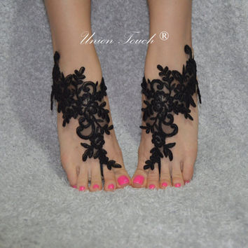 black, Free ship, barefoot sandals, Beach wedding shoes, bangle beach anklets, barefoot sandals, bridal bride bridesmaid, uniontouch