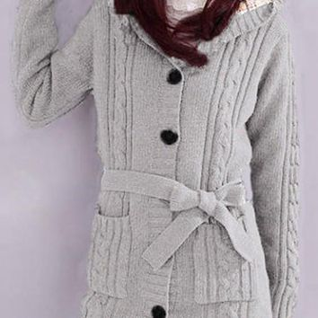 17337c4d13 Women s Grey Plain Belt Long Sleeve Hoodie Cardigans Trench Thic