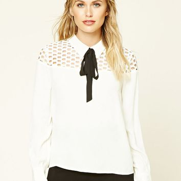 Contemporary Tie-Neck Lace Top