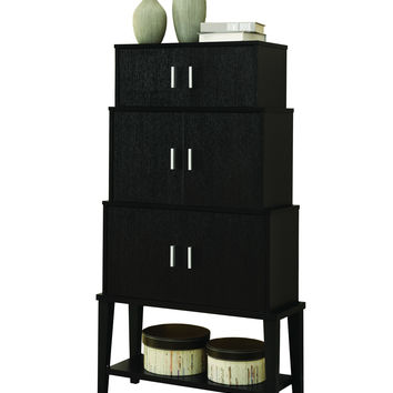 """Cappuccino 55""""H Stacking Style Storage Cabinet"""